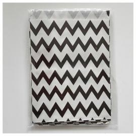 Cadeauzakje zwart wit zigzag per 5 stuks