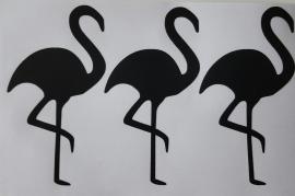 Muurstickers flamingo zwart 40 stuks