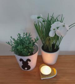Waxinehouder bloempotje zwart wit paashaas