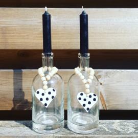 Hanger kralen met hartje voor om een fles/kandelaar