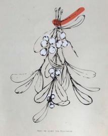 Kerst poster 'Meet me under the Mistletoe' + ophang strips