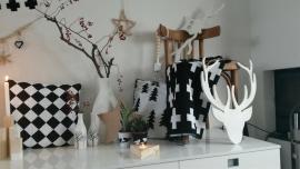 Kussenhoes wit met zwarte boompjes