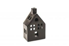 Set van 2 theelicht huisjes met schoorsteen zwart