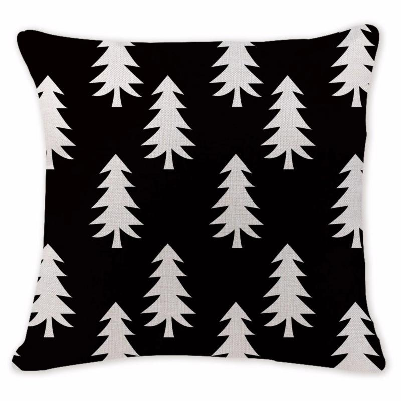 Kussenhoes kerstboompjes zwart/ecru