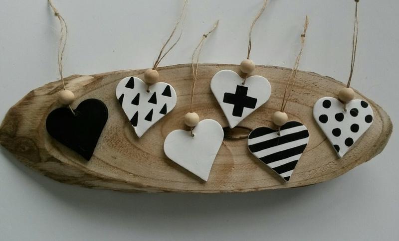 Herzen aus Ton 6 Stück