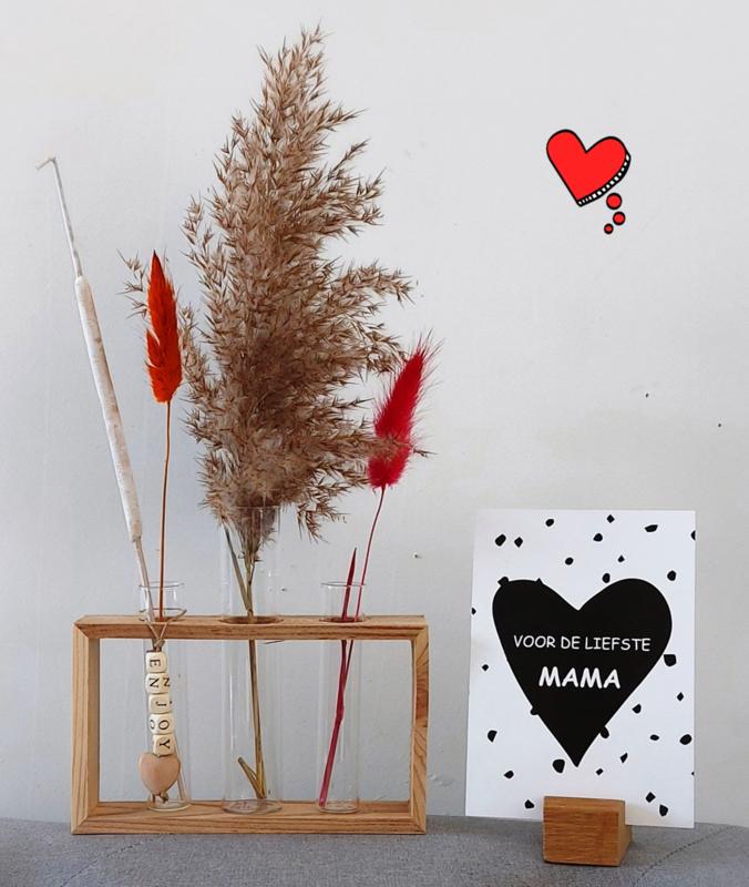 Frame hout met 3 vaasjes incl. droogbloemen + kaart naar keuze