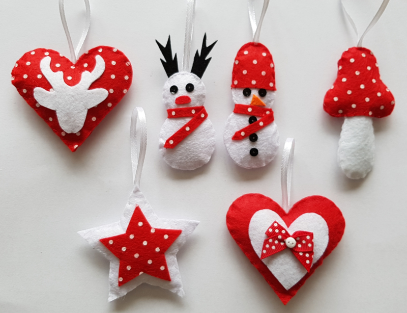 Kerstset rood/wit