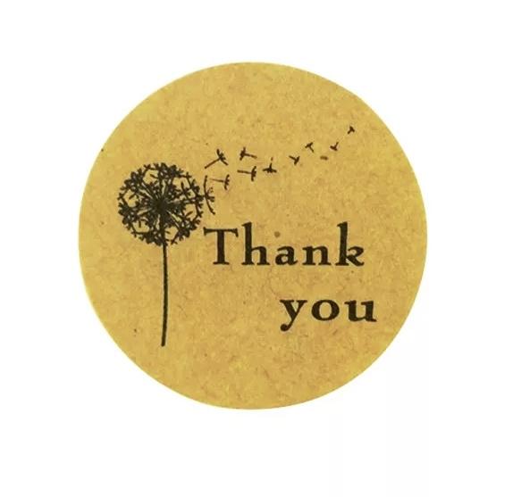 Sticker Thank you bruin zwart vel van 10 stuks
