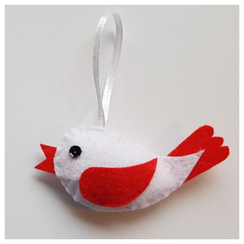 Vogel wit/rood