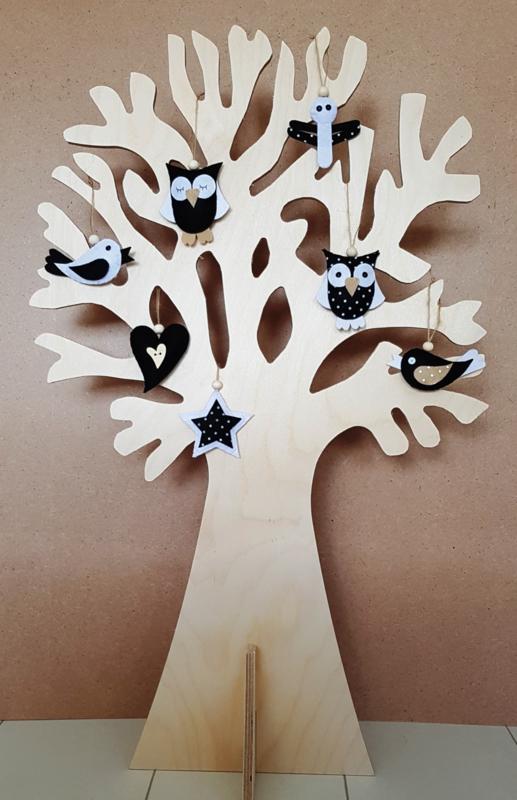Wensboom berkenhout 73cm + 7 vilthangers zwart/wit