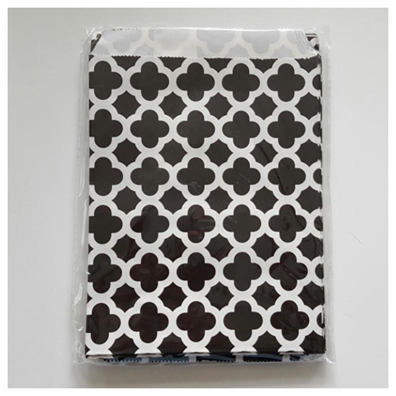 Cadeauzakje zwart wit figuren per 5 stuks