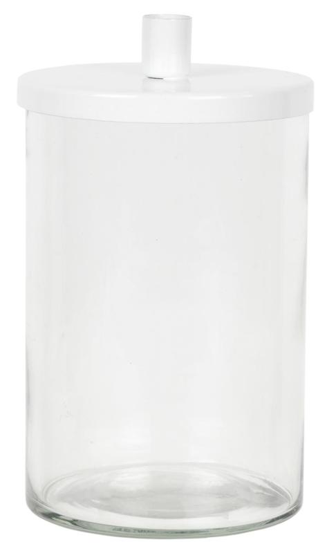 Kandelaar glas metaal wit voor potloodkaarsjes /advent