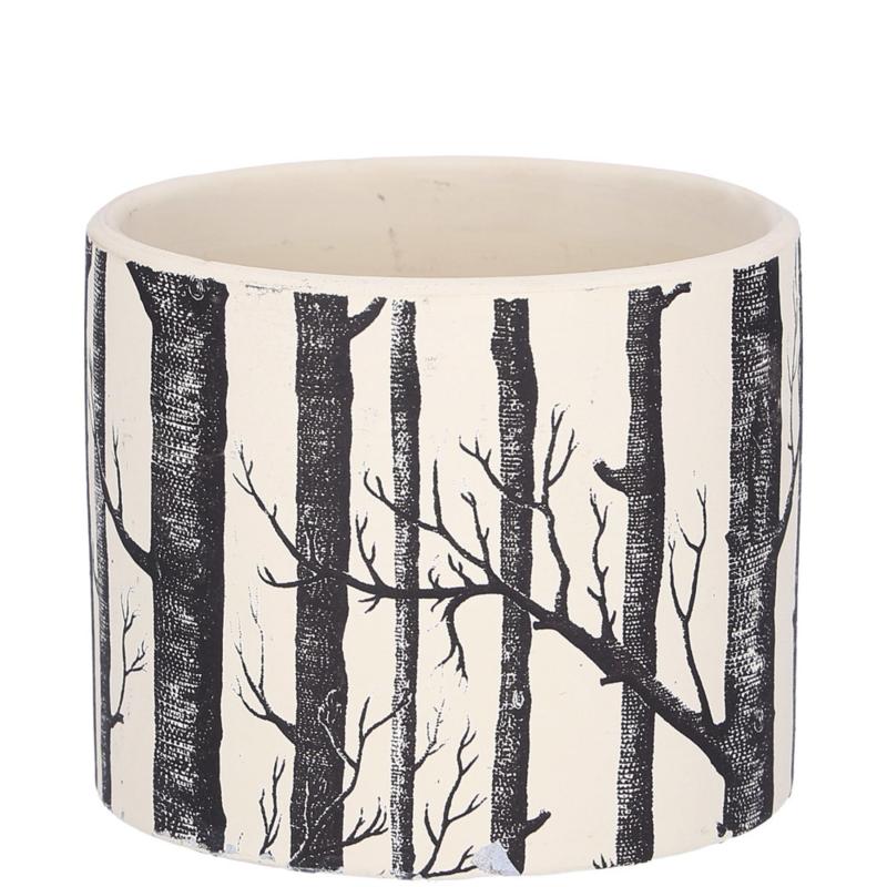 Bloempot waxinehouder zwart wit bomen 10,5cm