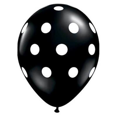Ballonnen zwart wit gestipt 10 stuks