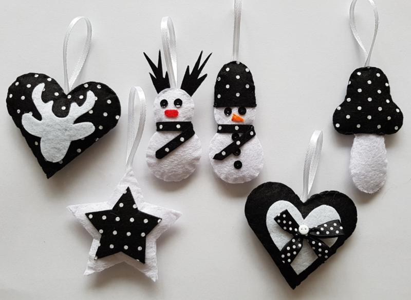 Kerst set zwart/wit