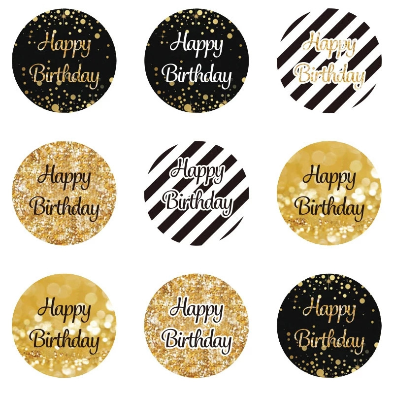 Stickers Happy Birthday zwart wit goud 9 stuks