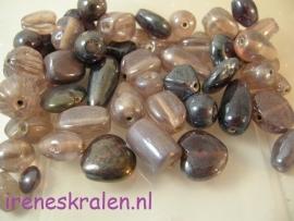 Gprs 020 Kralenmix Luster Paars/Lila, ca. 100 gram