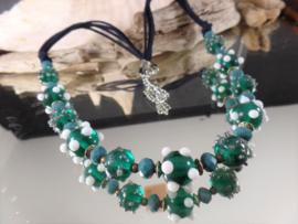 GR021: Necklace Teal GlassBeads