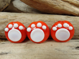 IKRD0032: Set of 3 Lentils with Paw Orange & White, appx  19mm