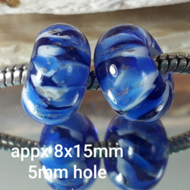 IKBL0252: Pair Big Hole Beads Cobalt & Goldstone, appx 8x15mm