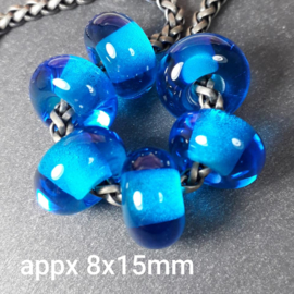 BH0014: Transparent Bead Aqua, appx 8x15mm (sold per bead)