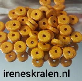 GE02: Schijfjes DQ Grieks Keramiek Dark Cheddar Yellow, ca 6x2mm