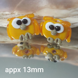 IKGE043: Pair Owls Mini Yellow, appx 13mm DoubleSided