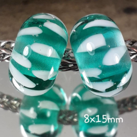 BH0002: Set of 2x Teal Inside Color, appx 8x15mm