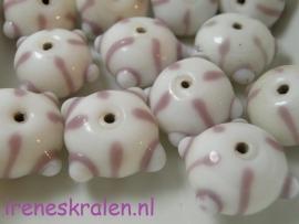 Gprs 503 Rondell wit met lila, witte bumps, 12x17mm, lampwork