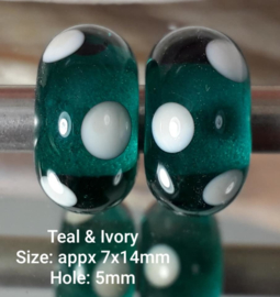 IKOC0032: Set of 2x BigHoleBead, Teal Dots, appx 7x14mm (5mm hole)