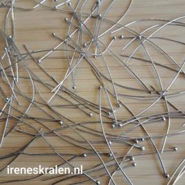 Nietstiften Nikkelkleur, 55mm, 0.6mm dik, ca. 45 stuks, allemaal krom
