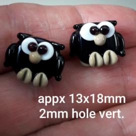 IKZW0002: DuoSet Uiltjes Zwart Mini DubbelZijdig, ca 13x18mm