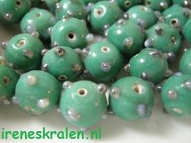 GG 122  Bumpy bead groen 11mm