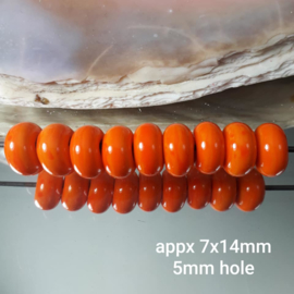 IKOR014: Plain Orange, appx 7x14mm (sold per bead, 5mm hole)