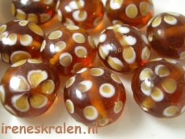 GB 1173  Disc-kraal middenbruin transparant met decoratie, 17mm lampwork