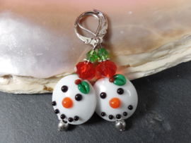 WI 0003: Lampwork Earrings SnowMen DoubleSided
