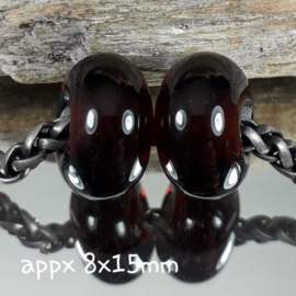 IKBR0246: Set of 2 Big Hole Beads Transparent DarkBrown, appx 8x15mm