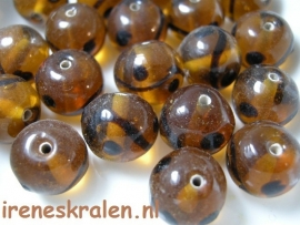 GB145:  Round topaz/black deco, 14mm, lampwork