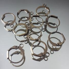 Oorhaken klap Bronskleur, ca 15x13mm, per 6 stuks