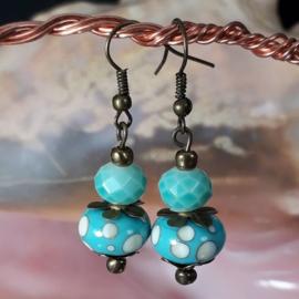 TU0012: Lampwork Earrings Turquoise