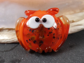 Big Lentil Owl Orange, appx 25x32mm