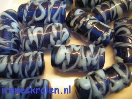 GBL255: Tube Decorated, lampwork, 27x11mm