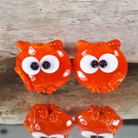 IKOR005: Set of 2 Lentil Cats Orange, appx 20mm doublesided