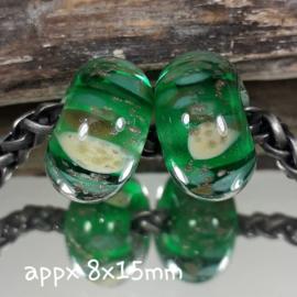 IKGR0172: Set van 2x GrootGatKraal Emerald & GoudGlitter, ca 8x15mm