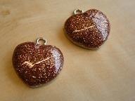 BM 0312 Bol hart emaille met glitters bruin, 24x23mm