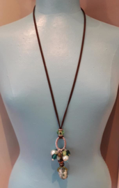 TU0018: Long Necklace Brown Aqua Green