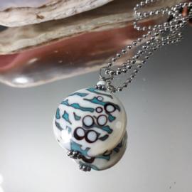 TU0001: Big Handmade GlassBead on a long BallChain Necklace