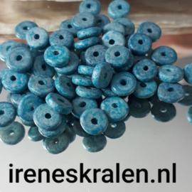 GAq007: Schijfjes DQ Grieks Keramiek Stonewash Scuba Blue, ca 6x2mm