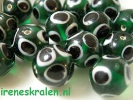 GG 121  Eye bead donkergroen/zwart/wit 12mm