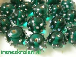 GG 125  Ronde kraal met bulten groen/aqua/emerald , 11x13mm